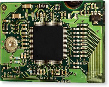 Macro Image Of A Hard Disk Controller Canvas Print by Yali Shi