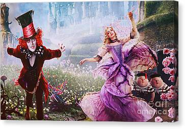 Mad Hatter And Alice Canvas Print by Nina Prommer