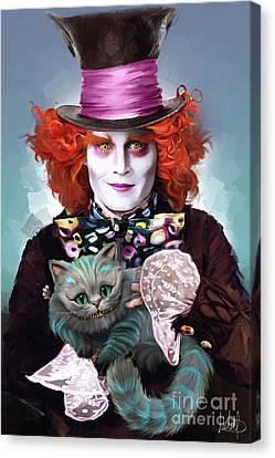 Mad Hatter And Cheshire Cat Canvas Print by Melanie D