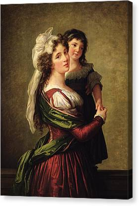 Madame Rousseau And Her Daughter Canvas Print by Elisabeth Louise Vigee Lebrun