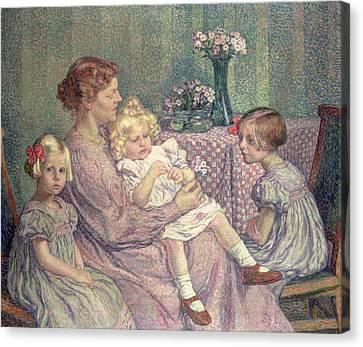 Madame Van De Velde And Her Children Canvas Print by Theo van Rysselberghe