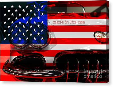 Made In The Usa . Chevy Corvette Canvas Print by Wingsdomain Art and Photography