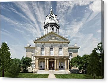 Madison County Courthouse Winterset Iowa  -  Oil1 Canvas Print by Frank J Benz