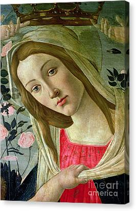 Madonna And Child Crowned By Angels Canvas Print by Sandro Botticelli