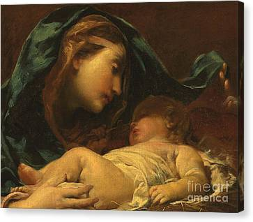 Madonna And Child Canvas Print by Giuseppe Maria Crespi