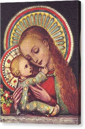 Madonna And Child Halos Canvas Print by Unknown