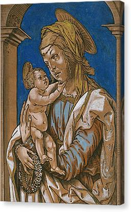 Madonna And Child Under An Arch Canvas Print by Hans Burgkmair