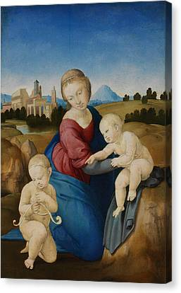 Madonna And Child With The Infant Saint John Canvas Print by Raphael