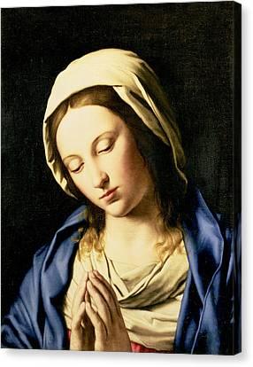 Madonna At Prayer Canvas Print by Il Sassoferrato