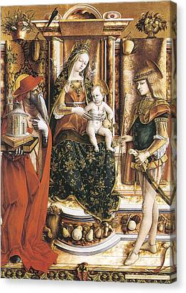 Madonna Of The Swallow Canvas Print by Carlo Crivelli