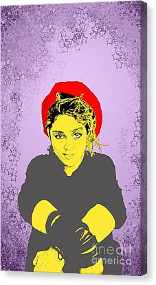 Madonna On Purple Canvas Print by Jason Tricktop Matthews