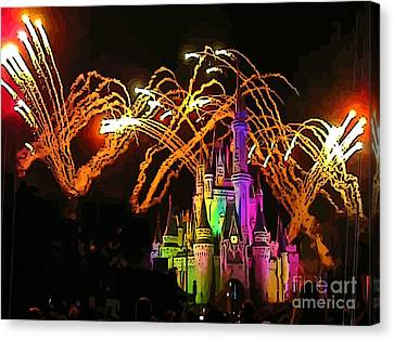 Magic Kingdom Fireworks Canvas Print by John Malone