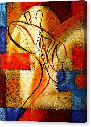 Magic Saxophone Canvas Print by Leon Zernitsky