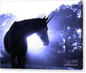 Magic Unicorn In Blue Canvas Print by Sari ONeal