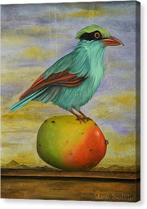 Magpie On A Mango Canvas Print by Leah Saulnier The Painting Maniac