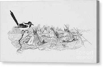 Magpie Surveying Indian Tipi Village Canvas Print by Celestial Images