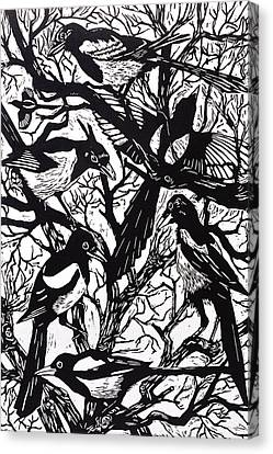 Magpies Canvas Print by Nat Morley