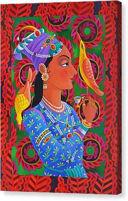 Maharani With Two Birds Canvas Print by Jane Tattersfield