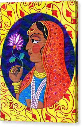 Maharani With White And Pink Flower Canvas Print by Jane Tattersfield
