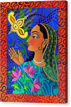 Maharani With Yellow Bird Canvas Print by Jane Tattersfield