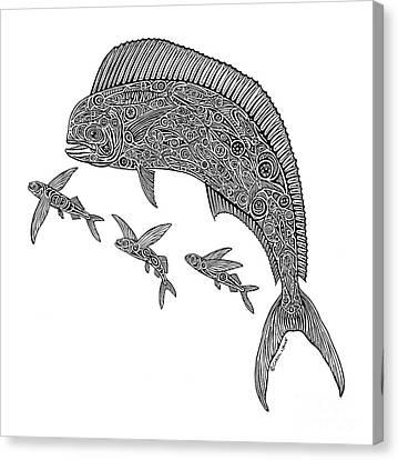 Mahi With Flying Fish Canvas Print by Carol Lynne
