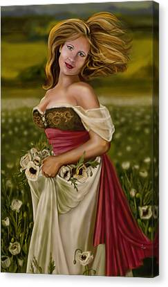 Maiden Amongst The Poppies Canvas Print by Maggie Terlecki