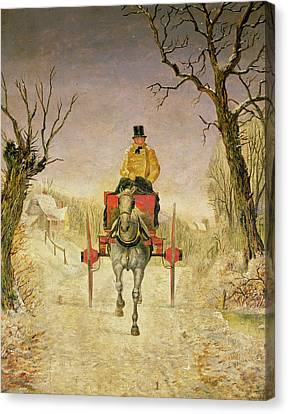 Mail Cart Christmas Canvas Print by R R Ripley