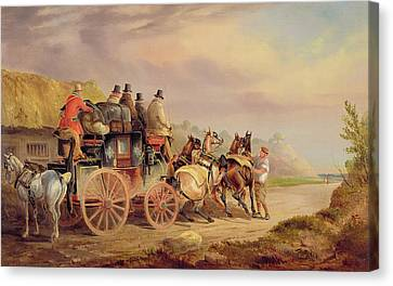 Mail Coaches On The Road - The 'quicksilver'  Canvas Print by Charles Cooper Henderson