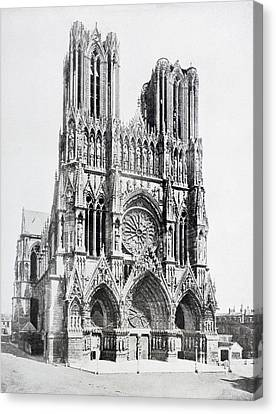 Main Facade Of Notre-dame De Reims  Our Canvas Print by Vintage Design Pics