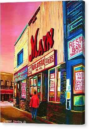 Main Steakhouse Blvd.st.laurent Canvas Print by Carole Spandau