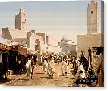 Main Street And Mosque Canvas Print by Celestial Images