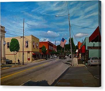 Main Street Clayton Nc Canvas Print by Doug Strickland