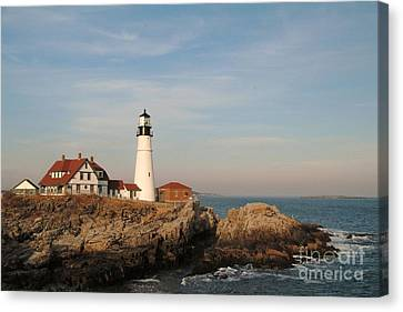 Maine Lighthouse Canvas Print by Alberta Brown Buller