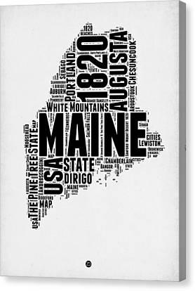 Maine Word Cloud 2 Canvas Print by Naxart Studio