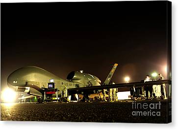 Maintenance Performed On A Rq-4 Global Canvas Print by Stocktrek Images