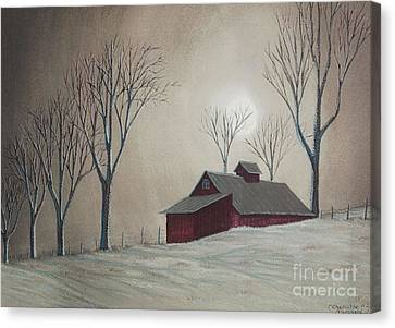 Majestic Winter Night Canvas Print by Charlotte Blanchard