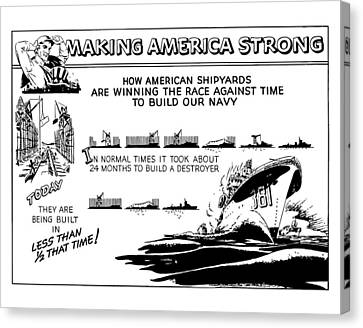 Making America Strong Ww2 Cartoon Canvas Print by War Is Hell Store