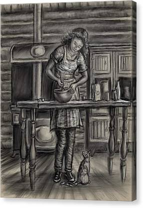 Making Bread In The Cabin Canvas Print by Dawn Senior-Trask