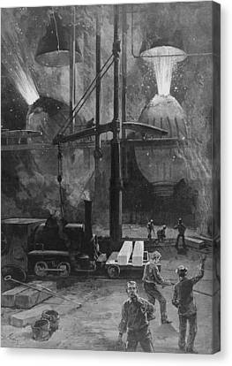 Making Steel With Bessemer Converters Canvas Print by Everett