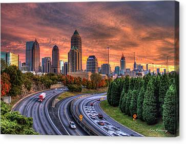 Making The Curve Atlanta Midtown To Downtown Canvas Print by Reid Callaway