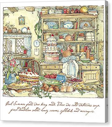 Making The Wedding Cake Canvas Print by Brambly Hedge