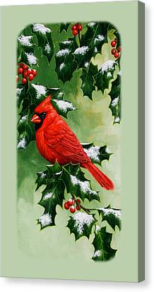 Male Cardinal And Holly Phone Case Canvas Print by Crista Forest