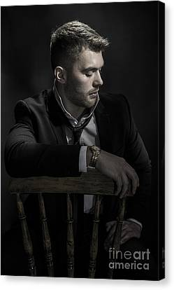 Male Model Sitting Canvas Print by Amanda And Christopher Elwell