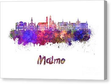 Malmo Skyline In Watercolor Canvas Print by Pablo Romero