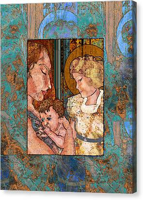 Mama And Baby And Angel Canvas Print by Mary Ogle