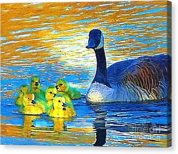 Mama And Her Goslings Canvas Print by Deborah MacQuarrie