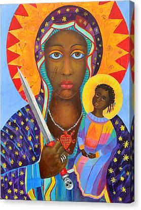 Mambo Mama Ezili Danto, Voodoo Goddess, Haiti New Orlean Black Madonna With Heart And Knife Canvas Print by Magdalena Walulik