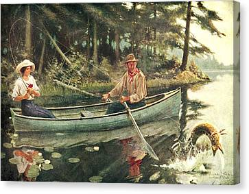 Man And Woman Fishing Canvas Print by JQ Licensing