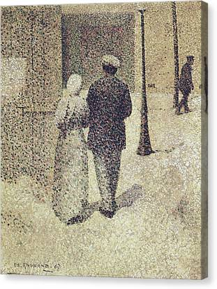 Man And Woman In The Street Canvas Print by Charles Angrand