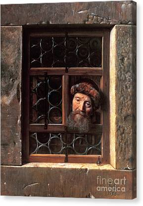 Man At A Window Canvas Print by Samuel van Hoogstraten